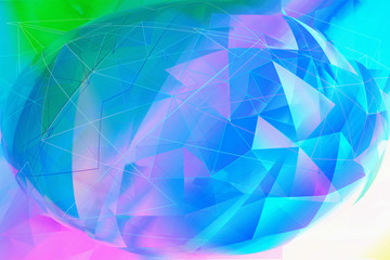 Trendy dreamy, abstract, fantasy 3d multicolour, geometric background