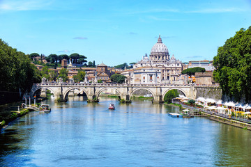 Sant'Angelo Bridge over Tiber river in Rome