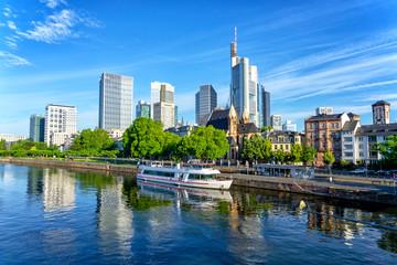 Frankfurt skyline at sunny day