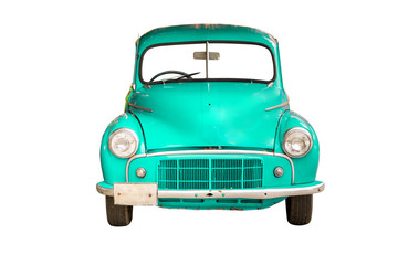cyan retro car, isolated on white background with clipping path.