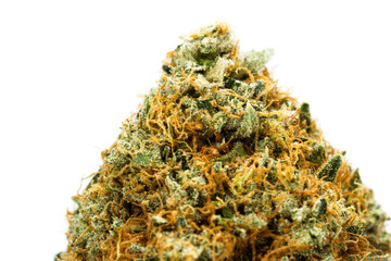 Fibers and crystals on a cannabis bud Fotobehang