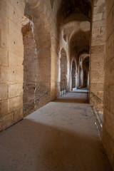 Interior of Amphitheatre of El Jem in Tunisia.
