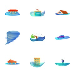Natural disaster icon set. Cartoon set of 9 natural disaster vector icons for web design isolated on white background