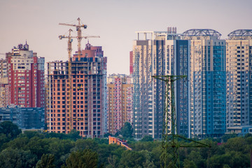 Construction of new modern residential complex in Kyiv, Ukraine