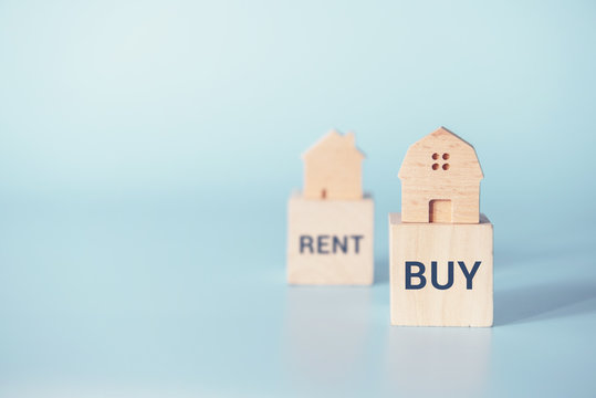 Home with Buy or Rent, copy space.