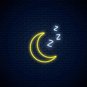 Glowing neon sleepy moon icon with zzz symbol. Sleeping crescent in neon style to weather forecast in mobile application