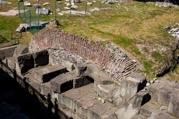 Ancient ruins of the Forum of Augustus with Temple of Mars the Avenger inaugurated in 2 BC
