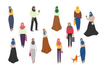 Muslim women set. Cute cartoon Arab girls in traditional dress. Businesswoman collection