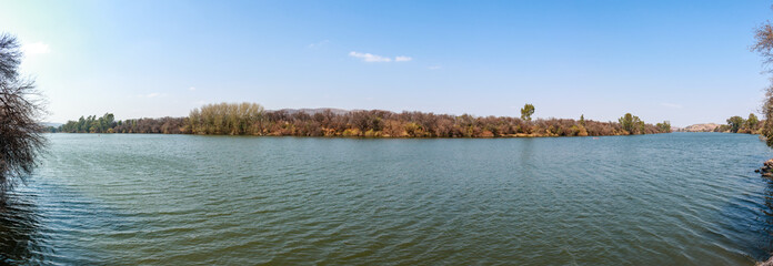 Vaal River Winter River with small Ripples Landscape Wide Panorama Calm Water Dome Bergland Banks