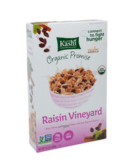 IRVINE, CA - DECEMBER 12, 2014: A box of Kashi Raisin Vineyard breakfast cereal. The Kashi Company produces a line of organic, Non-GMO cereals, cracker, cookies and entrees.