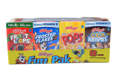 IRVINE, CALIFORNIA - MARCH 15, 2015: Kellogg's Fun Pak. A variety of Kellogg's single serving boxes. The Battle Creek, Michigan company is a leader in breakfast foods.