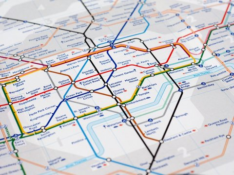 LONDON, UK - CIRCA APRIL 2016: Detail of the tube map with selec