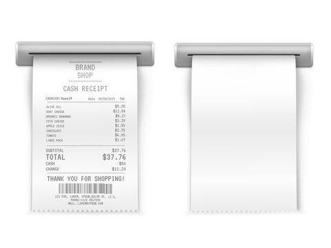 Sales printed receipt, shopping paper bill atm vector mockup