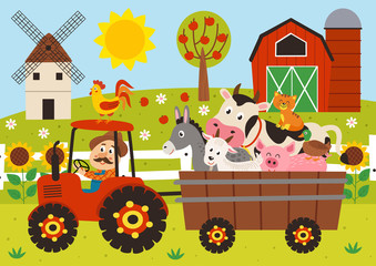 farmer and farm animals riding a tractor with a trailer - vector illustration, eps