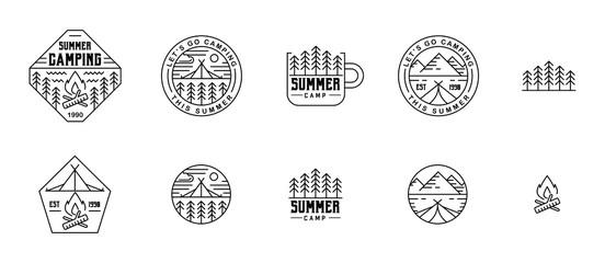 Summer camper flat line design for labels, stickers, etc