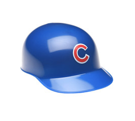 IRVINE, CALIFORNIA - FEBRUARY 27, 2019:  Closeup of a mini collectable batters helmet for the Chicago Cubs