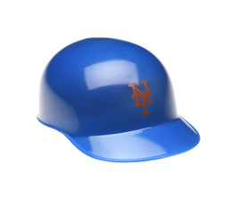 IRVINE, CALIFORNIA - FEBRUARY 27, 2019:  Closeup of a mini collectable batters helmet for the New York Mets