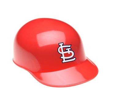 IRVINE, CALIFORNIA - FEBRUARY 27, 2019:  Closeup of a mini collectable batters helmet for the St. Louis Cardinals