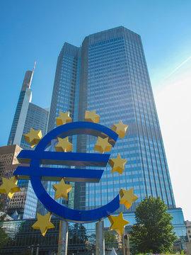 FRANKFURT, GERMANY - JUNE 06, 2013: Euro sign at ECB