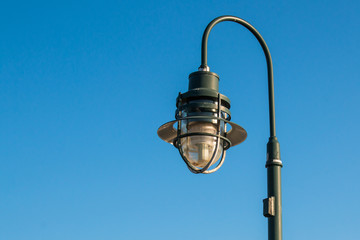 Close-up of lantern on the Ocean View fishing pier in Norfolk, Virginia.