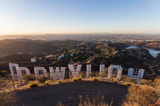 Early morning view from back of the famous Hollywood Sign on October 13, 2013 in Los Angeles, California.