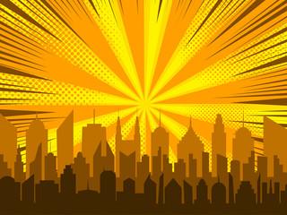 Comic cityscape background