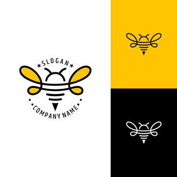 bee logo.line art style.simple minimalist animal icon.modern logo design