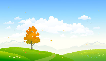 Vector cartoon illustration of a colorful autumn nature background Wall mural