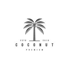 coconut tree logo design template premium