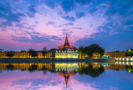 Night view of Mandalay Palace in Myanmar