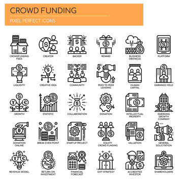 Crowdfunding , Thin Line and Pixel Perfect Icons