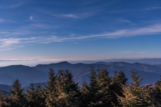 View from Mount Mitchel of mountains