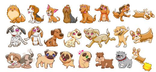 dog vector set graphic clipart design