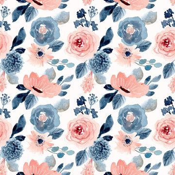 blush blue floral watercolor seamless pattern