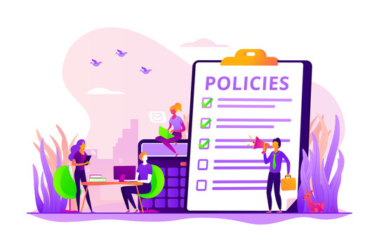 Business ethics. Corporate governance. Regulations compliance. Business rules, main company policy, business regulation, IT business analysis concept. Vector isolated concept creative illustration