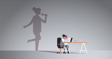 woman sitting at workplace using laptop shadow of singer holding microphone and singing imagination aspiration concept female cartoon character flat horizontal full length