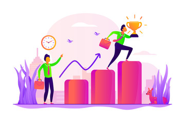 Personal development and goals achievement. Career growth. Self-management, self regulation learning, self-organization course concept. Vector isolated concept creative illustration