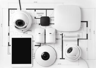 Fototapeta Different equipment of security system on home plan obraz