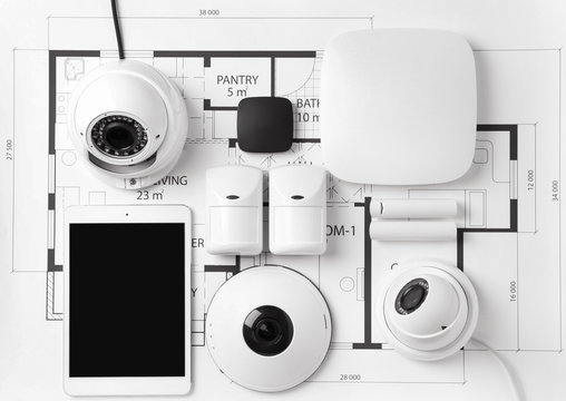 Different equipment of security system on home plan