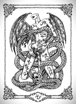 Snake symbol. Vector line art mystic illustration. Engraved drawing in gothic style. Occult, esoteric and fantasy concept