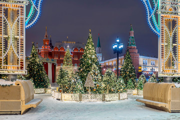 Christmas in Moscow. Manezhnaya square decorated for the new year. Building inscription in Russian: Museum of History