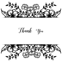 Decoration postcard or greeting card, lettering of thank you, beautiful flower frame. Vector
