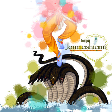 vector illustration of Krishna dancing on Kaliya snake on Happy Janmashtami festival background of India