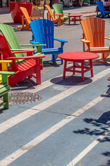 Rainbow of patio furniture in the market