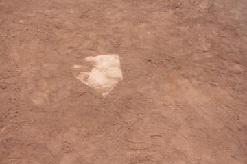 Home base is a little dusty.