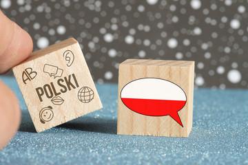 Flagge von Polen und polnische Sprache