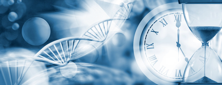 stylized image of hourglass, water against a chain of DNA closeup