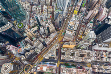 Wall Mural - Top view of Hong Kong city