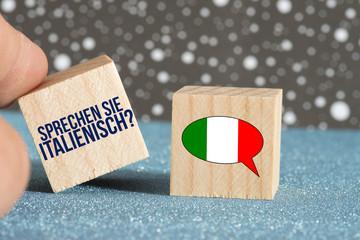 Flagge von Italien und Frage Sprechen Sie Italienisch