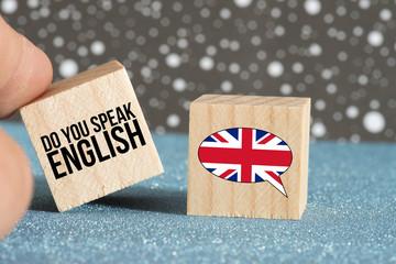 Flagge von Großbritannien und Frage Sprechen Sie englisch